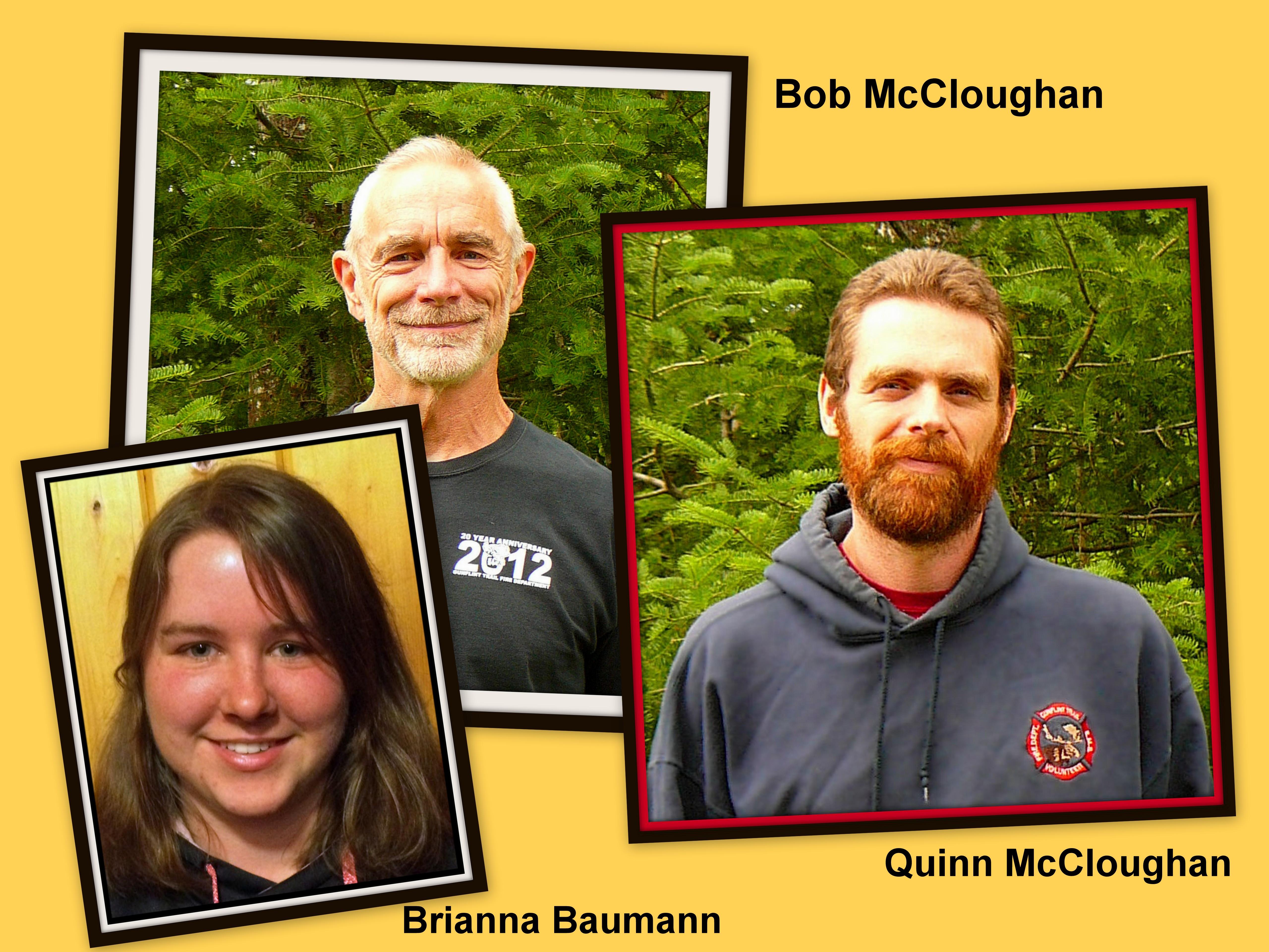 Brianna Baumann, Bob McCloughan and Quinn McCloughan